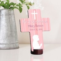 Personalized Prayer First Communion Cross in Pink