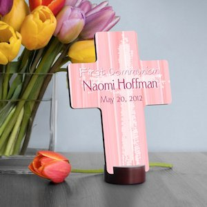 Personalized Pink First Communion Cross image
