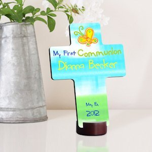Sunshine and Butterflies Personalized First Communion Cross image