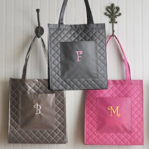 Personalized Quilted Shopping Tote - 3 Colors image