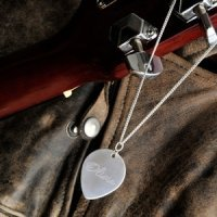 Personalized Sterling Guitar Pick Necklace