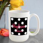 Personalized Polka Dot Mugs - 6 Colors