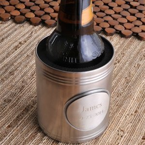 Brushed Chrome Koozie with Personalized Medallion image