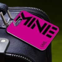 Personalized Pink 'MINE' Luggage Tag