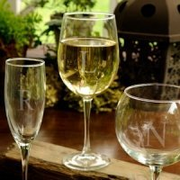 Personalized Initial White Wine Glass