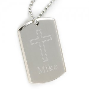 Personalized Inspirational Cross Dog Tag image