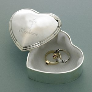 Cross Design Heart Trinket Box image