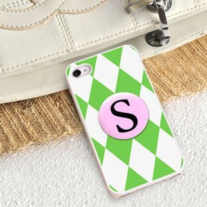 Personalized Green Diamonds iPhone Case image