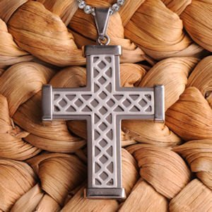 Silver Weave Personalized Cross Necklace image