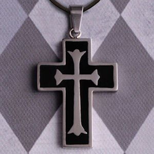Personalized Cross Necklace with Black Inlay image