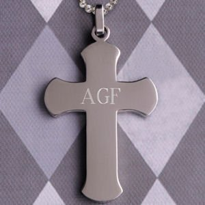 Rouned Edge Personalized Cross Necklace image