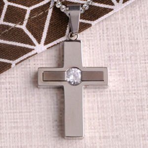Jewel Inlay Personalized Cross Necklace image
