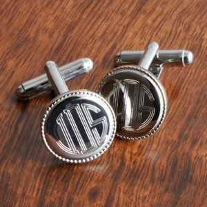 Round Monogram Cuff Links image