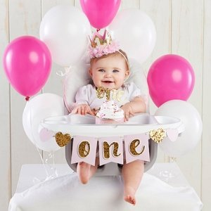 Gold Glitter 1st Birthday Decoration Kit image