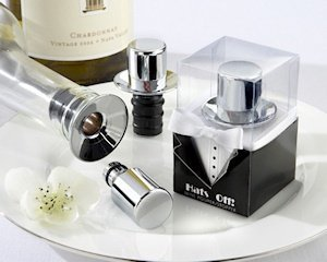 Chrome Top Hat Wine Pourer and Bottle Stopper image