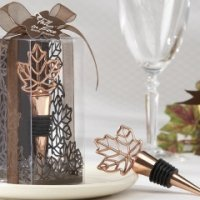 Fall Leaf Bottle Stopper with Copper Finish