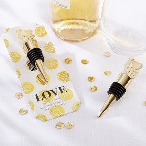 LOVE Gold Bottle Stopper Favors image
