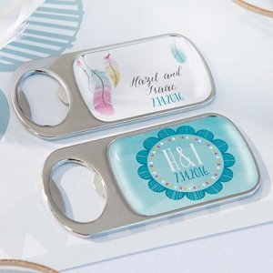 Personalized Bohemian Silver Bottle Opener Favors image