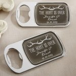 Personalized 'The Hunt is Over' Bottle Opener
