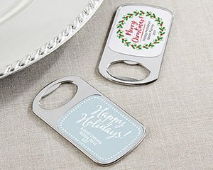 Personalized Silver Holiday Bottle Opener Favors image