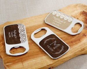 Personalized Rustic Charm Silver Bottle Opener Favors image