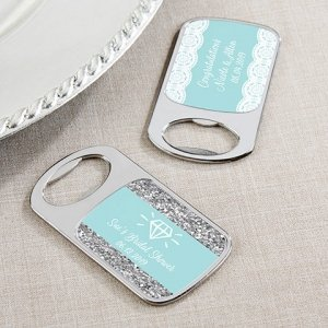 Personalized Something Blue Silver Bottle Opener Favor image