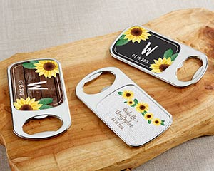 Personalized Sunflower Silver Bottle Openers image