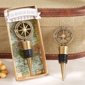 'Our Adventure Begins' Compass Design Bottle Stopper image