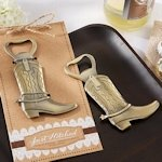 'Just Hitched' Western Cowboy Boot Bottle Opener Favors