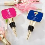 Personalized Birthday Gold Bottle Stopper Favors