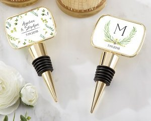 Personalized Botanical Garden Gold Bottle Stopper Favors image
