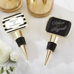 Personalized Classic Design Gold Bottle Stopper Favors