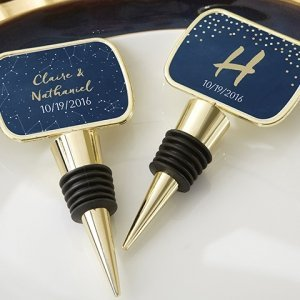Personalized Under the Stars Gold Bottle Stopper Favors image