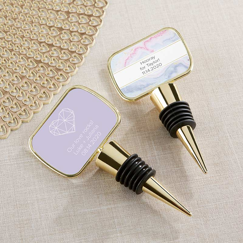 Personalized Elements Gold Bottle Stopper Favors image