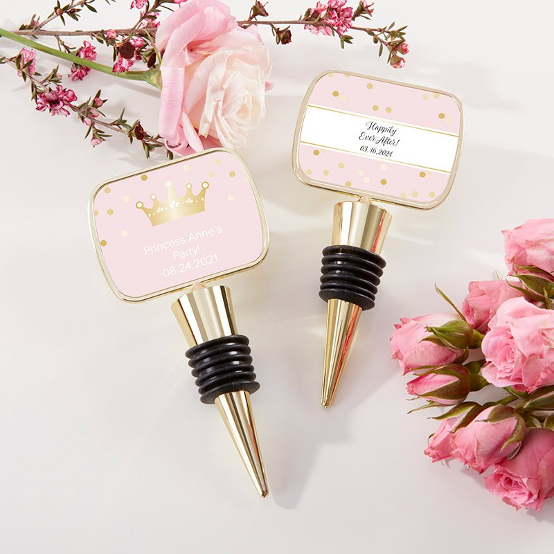 Personalized Gold Bottle Stopper - Princess Party image