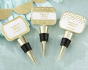 Personalized Gold Foil Gold Bottle Stopper Favors image