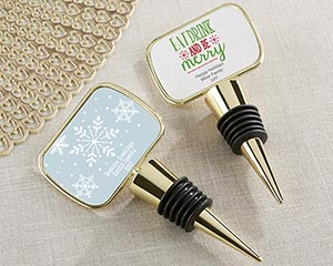 Personalized Holiday Gold Bottle Stopper image