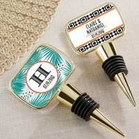Personalized Tropical Chic Gold Bottle Stopper Favors