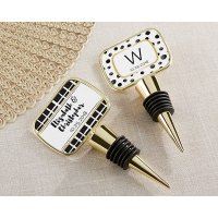 Personalized Modern Classic Gold Bottle Stopper Favors