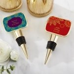 Personalized Indian Jewel Gold Bottle Stopper Favors