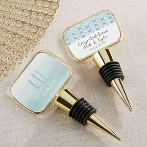 Seaside Escape Personalized Gold Bottle Stopper Favors image