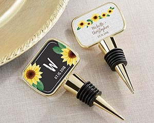 Personalized Sunflower Gold Bottle Stopper Favors image