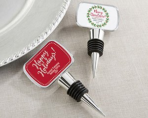 Personalized Holiday Silver Bottle Stoppers image