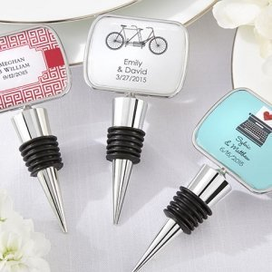 Chrome Bottle Stopper with Personalized Rectangle Top image