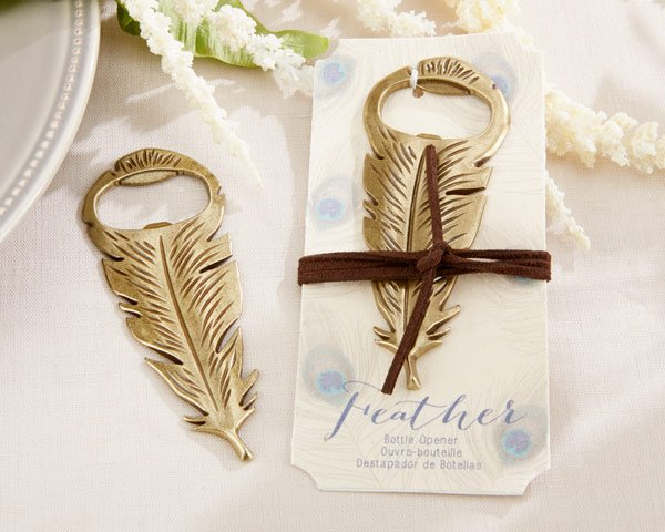 Gilded Antique Gold Feather Bottle Opener