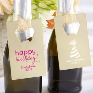 Personalized Gold Credit Card Bottle Opener Party Favors image