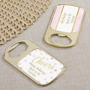 Personalized Birthday For Her Gold Bottle Opener Favors image