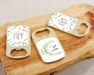 Personalized Botanical Garden Gold Bottle Opener Favors image
