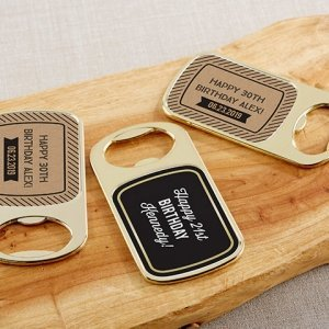 Personalized Boozie Birthday Gold Bottle Opener Favors image