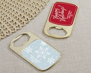 Personalized Holiday Gold Bottle Opener Favors image